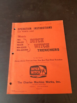 Ditch Witch M4 Trenchers Operation Instructions and Parts List 1964