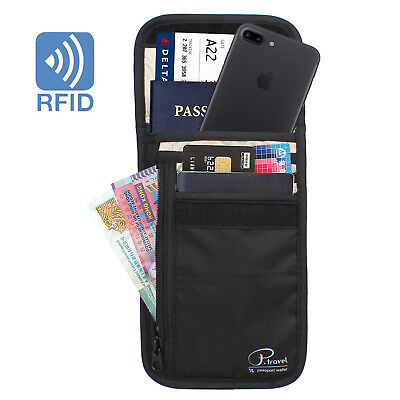Travel RFID Blocking Card Storage Bag Passport Documents Wallet Organizer Holder