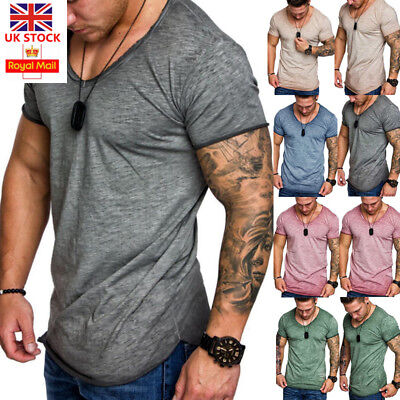 Mens Summer Slim Fit Short Sleeve Crew Neck T-Shirt Casual Muscle Basic Tee Tops