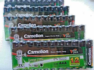 60 x Camelion Super Heavy Duty 1.5V AAA R03 Batteries Long Life Value Pack SALE