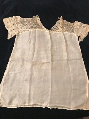 Antique Child-Baby Victorian Long White 100%silk Dress/gown Lace Top & Sleev