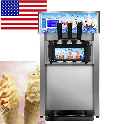 【USA】Commercial Soft Serve Ice Cream Machine Frozen Yogurt 3Flavor Mixed Taste