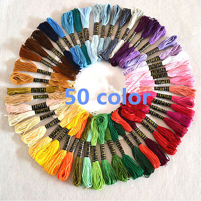 50 ASSORTED Colors Cross Stitch Cotton Embroidery Thread Floss Set UK