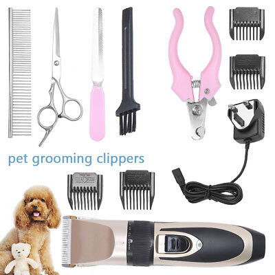 Electric Pet Shave Clipper Hair Low Noise Cordless Dog Cat Grooming Trimming Set