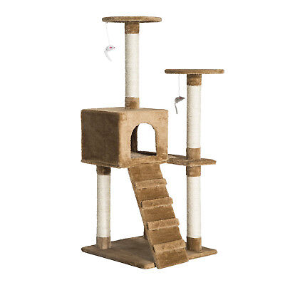 "52"" Multi-Level Tower Cat Tree Condo Furniture Kitty Scratching w/ Toy"