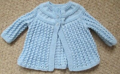 Hand knitted baby blue matinee cardigan - 0-3 months