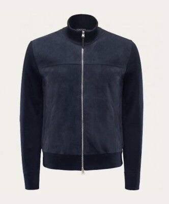Tom Ford Navy Suede Wool Bomber Jacket 48/ 38R