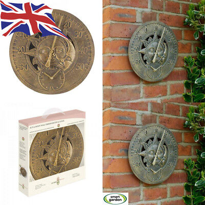 Outside-In Sun and Moon 12in Wall Thermometer Clock (5065020)