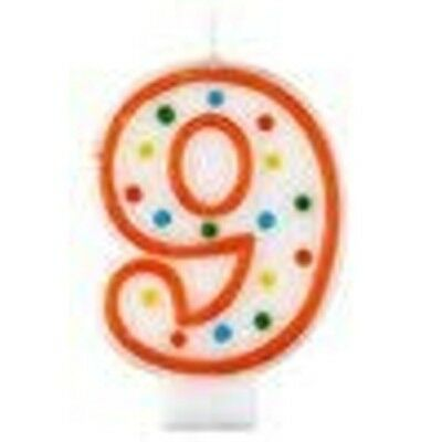 Polka Dot Birthday Candle Number 9 - 7.5cm -