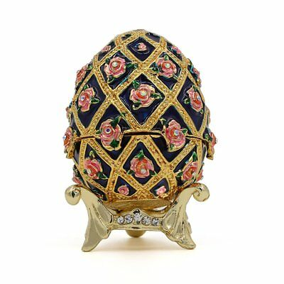 Faberge Metal Crafts Jewelry Trinket Box Hollow Egg For Christmas Wedding Party