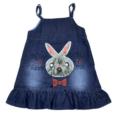 GIRLS EMBROIDERED BUNNY CHAMBRAY COTTON DRESS Age 2-3 Years