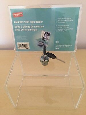 """Staples®Ballot/Coin Box with Sign Holder and 3 1/2"""" slot and keys"""
