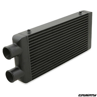 "3"" 76mm BLACK TWIN PASS SAME SIDE DRIFT ALLOY FRONT MOUNT INTERCOOLER KIT FMIC"