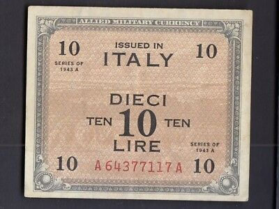 Italy 10 Lira 1943 - Series A - WWII Military Occupation Paper Currency  (#2 )