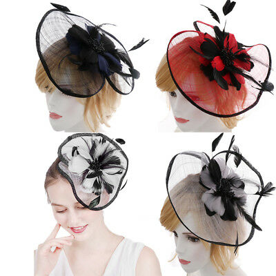 Ladies Flower Feather Headband Clip Hat Wedding Ascot Races Hair Fascinator