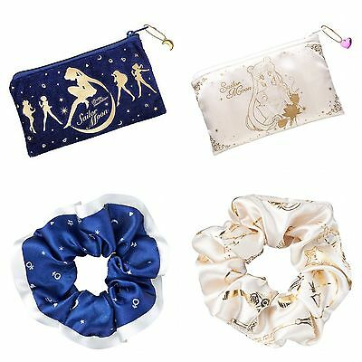 Sailor Moon - Gashapon Capsule Goods - Blue/White Pouch & Scrunchie SET of 4