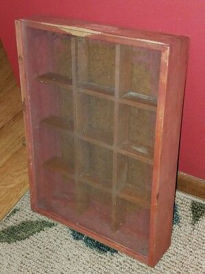 Antique/Vintage Wooden SHADOW BOX w/Sliding Glass Door~12 Compartments!