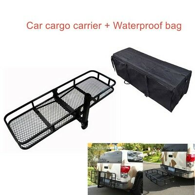 """60"""" Luggage Basket Tray Hitch Mounted Cargo Carrier + Waterproof Bag Combo"""