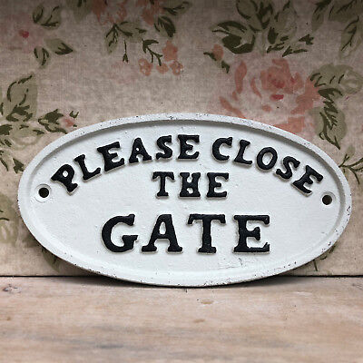 Antique White Cast Iron Wall Garden Gate Door Sign Plaque Please Close The Gate
