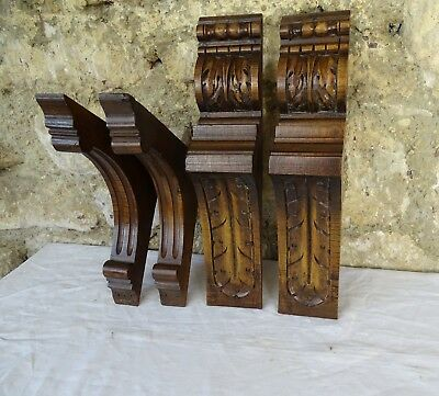 Lot 4 French Antique Corbels Pillars Brackets in Walnut Wood Salvage
