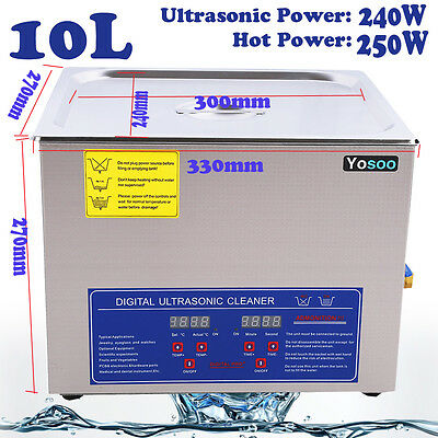 Ultrasonic 10L Cleaner Stainless Steel Ultra Sonic Tank Bath Cleaning Timer UK