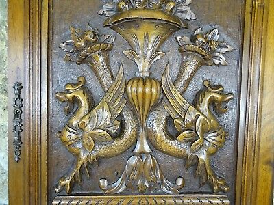 French Antique Superb Hand Carved Gothic Griffin Walnut Wood Cabinet Door Panel