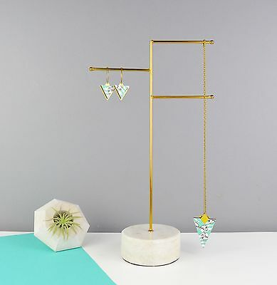 SECONDS Marble & Brass Jewellery Stand for Necklaces & Bracelets - Display