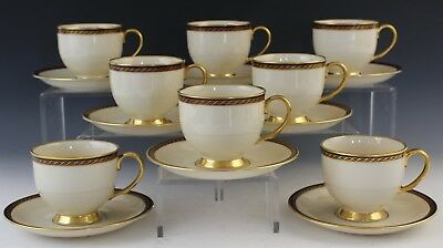 16 Pc Lenox Monroe Porcelain Presidential Gold Band Footed Tea Cup & Saucer Set