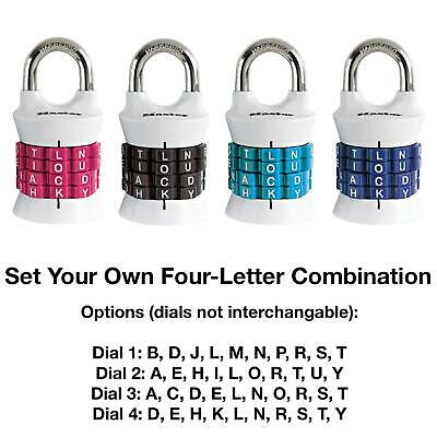 Master Lock Letter Combination Padlock One Pack Assorted Colors (1535DWD)