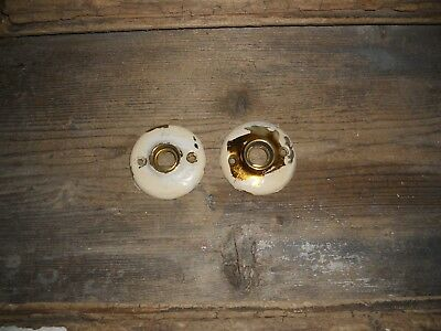 Vtg Set Chippy Shabby Door Knob Backplate Rosettes/escutcheons Art/craft/jewelry