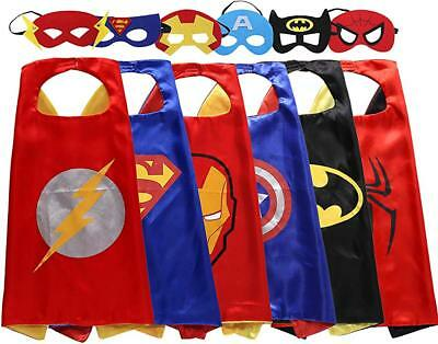 6 Set Superhero Capes with Felt Masks for Kids Dress Up Costumes Christmas Party