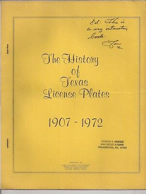 TEXAS: LICENSE PLATE BOOK History of Texas License Plates 1972 made by DMV 1972
