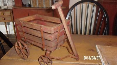 Vintage Primitive Wooden Wagon - Red Painted Wood Slats - Iron Wheels