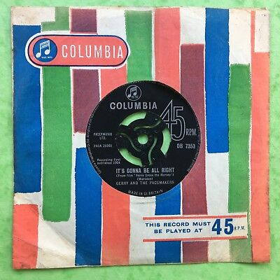 Gerry And The Pacemakers - It's Gonna Be All Right - Columbia DB-7353 Ex