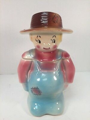 Vintage American Bisque Cookie Jar Pennsylvania Dutch Boy Farmer