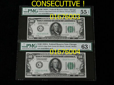 "1928 A Fr# 2151-G dgs Federal Reserve Note $100 x 2 ""CONSECUTIVE"" GOLD Clause"