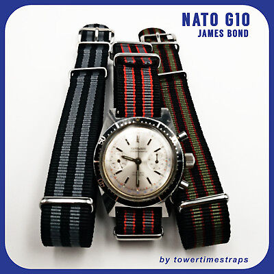 Cinturino strap per orologio NATO G10 in nylon James Bond 16 18 20 22 24 26 mm
