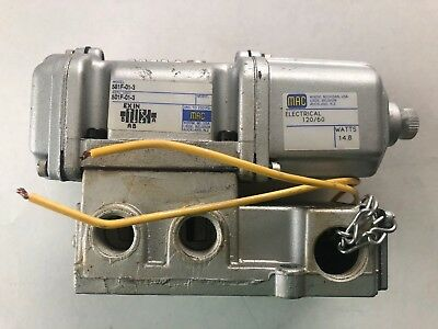 Mac Valves 581F-01-3 Solenoid Valve Assembly 120 Volts 60 Hz Air Control New