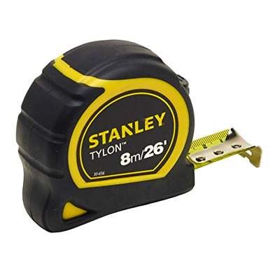 **Stanley STA130656N Pocket Tylon Tape, 8 m/26 feet (25 mm) - Yellow and Black**