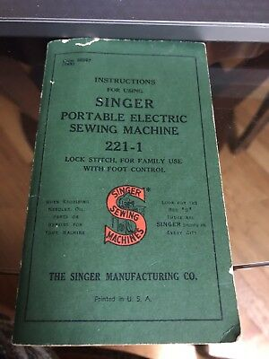 Vintage SINGER Sewing Machine Instruction Booklet 1947 Portable Electric 221-1