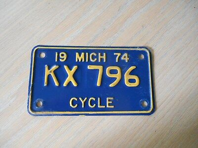 Vtg 1974 MICHIGAN KX796 Motorcycle License Plate Tag NAVY BLUE & GOLD YELLOW