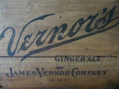 Vintage RARE JAMES VERNOR COMPANY  Vernor's Ginger Ale Unique Wooden Crate Box