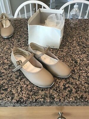 Girls (Youth)Tap Shoes By Class Act. Mary Jane.Size 12.5 M Beige, Tan Color
