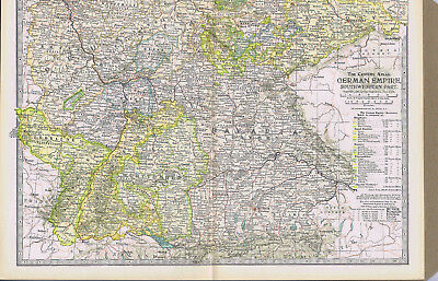 GERMAN EMPIRE - Southwestern Part -1897 Highly Detailed Antique Color Map
