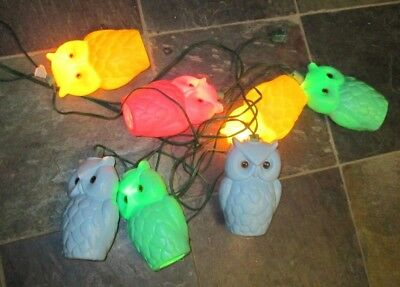 Vintage Mold Owl Party Lights Rv Camping Patio String