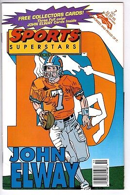 1992 Sports Superstars Comic Book John Elway Denver Broncos 3 Collector Cards