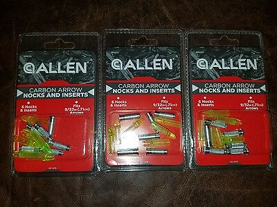 Lot of 3 new in package ALLEN Carbon Arrow Nocks and Inserts Yellow # 68421A