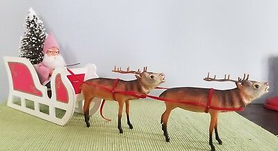 Vintage German Style Santa Belsnickle Reindeer Drawn Mica Sled W/ Sisal Tree