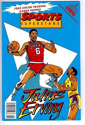 1992 Comic Book Sports Superstars Julius Irving Dr J Sixers w/ Collector Cards