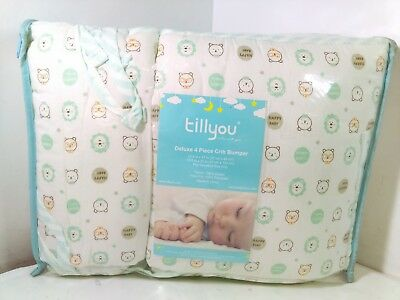 TILLYOU Baby Breathable Crib Bumper Pads, Green Baby Bear, 4pc 3030-MB3